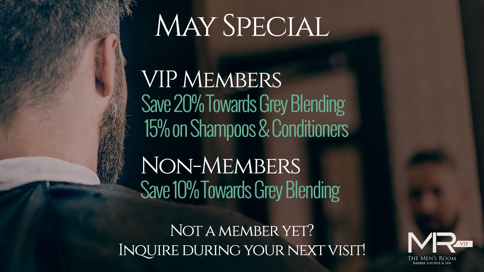 Men's Room Barber, Spa, & Lounge Monthly Special