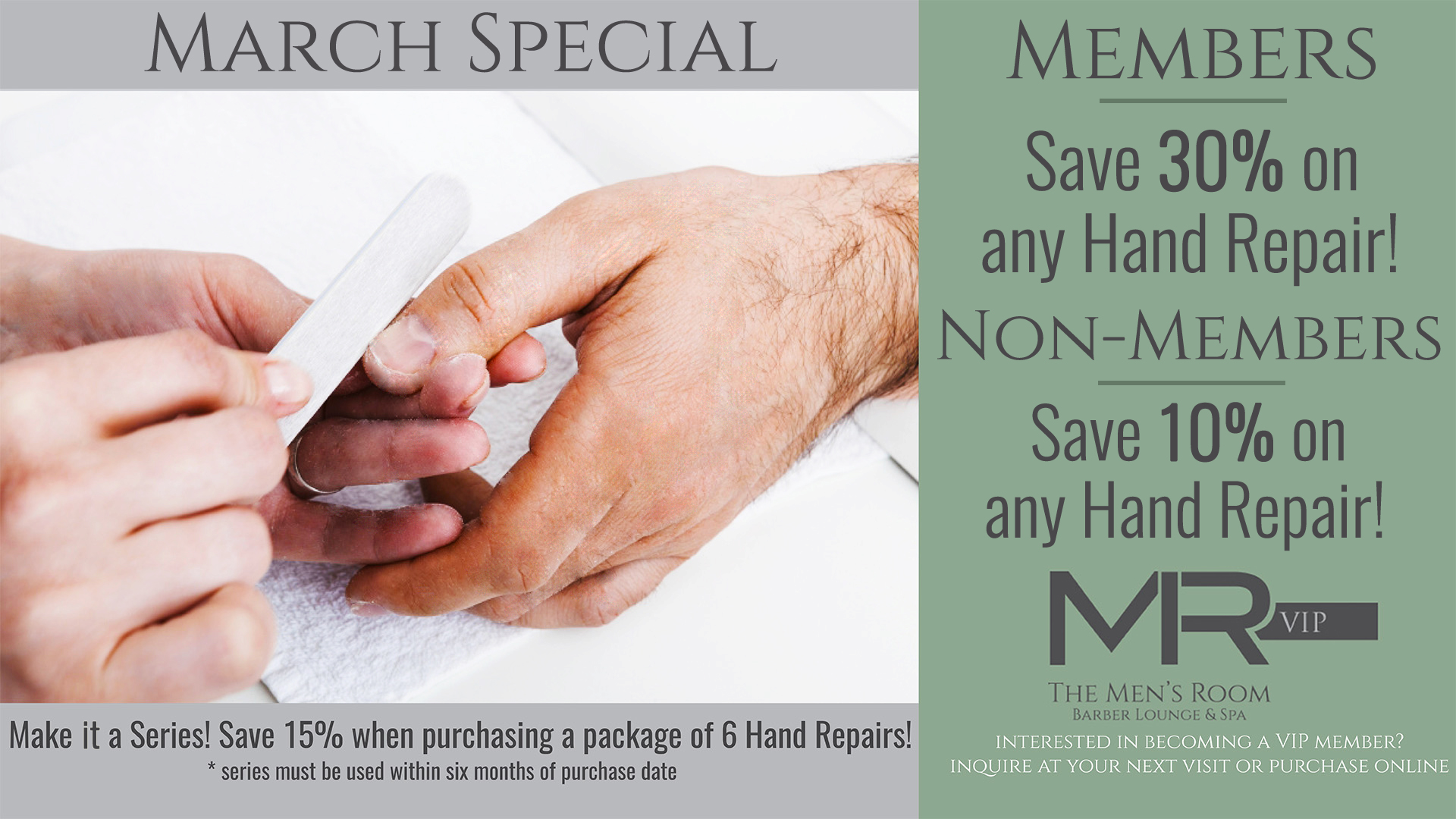 The Men's Room Barber, Lounge, & Spa - March Special 2017