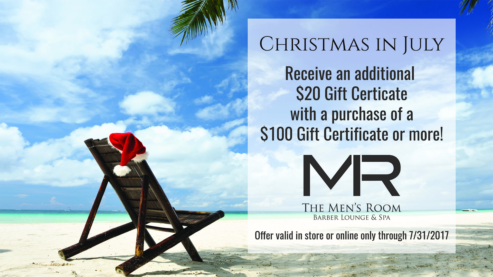 The Men's Room Barber, Lounge, & Spa Christmas in July Gift Card Special