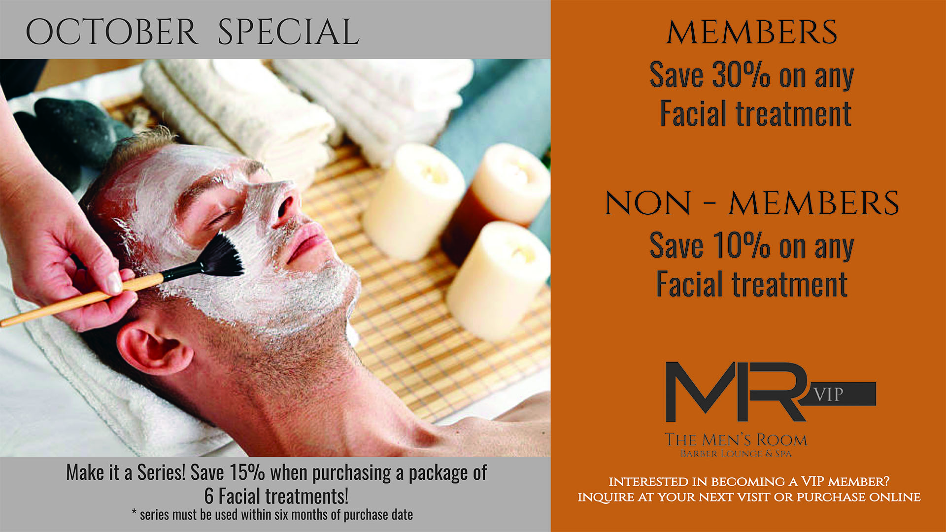 The Men's Room Barber, Lounge, & Spa October Special